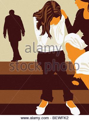 Mädchen weinen über die Scheidung der Eltern - Stockfoto