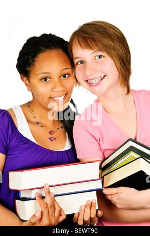 Isolierte Porträt von zwei Mädchen im Teenageralter Text Bücher - Stockfoto