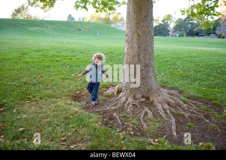 drei Jahre alter Junge auf dem Boden auf Baumwurzeln, in einem Park, allein ausgeführt - Stockfoto