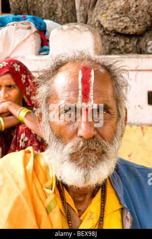 Porträt eines Sadhu, heiliger Mann, Indien. - Stockfoto