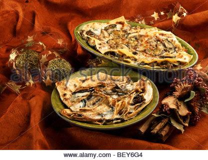 Lasagne mit Pilzen und Crêpe mit Gemüse - Stockfoto