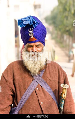 Porträt eines Sikhs in Amritsar, Punjab, Indien. - Stockfoto