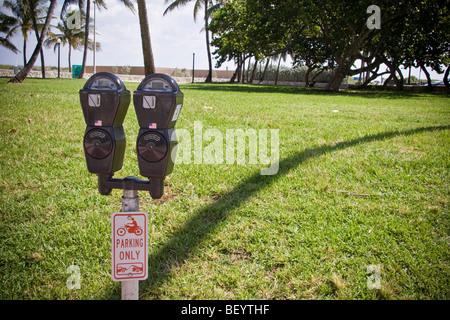 Parkuhr mit interessanten Schatten Palme. Ocean Drive, Miami South Beach Florida - Stockfoto