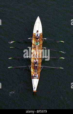 Wassersport, doppelklicken coxed fours, die jungen Ruderer in Aktion - Stockfoto