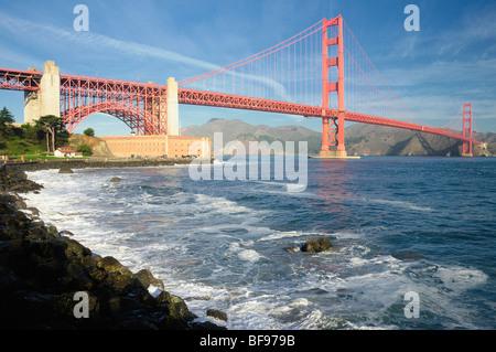 Golden Gate Bridge von Fort Point, San Francisco, Kalifornien, USA - Stockfoto