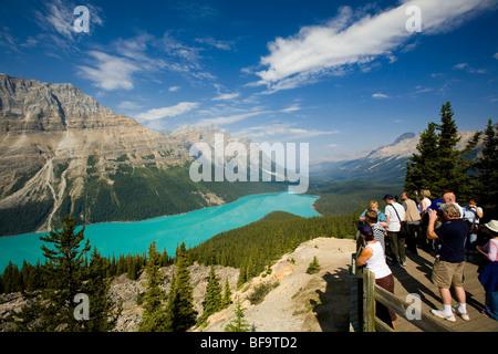 Peyto Lake gesehen von der Blick-off, Banff Nationalpark, Alberta, Kanada - Stockfoto