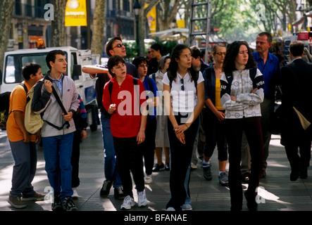 Spanier, Spanier, Spanier, Spanisch, Mädchen, spanische Studenten, La Rambla, Las Ramblas, Barcelona, Provinz Barcelona, - Stockfoto