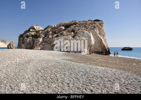 Aphrodites Strand, Petra Tou Romiou, Bezirk Paphos, Zypern - Stockfoto