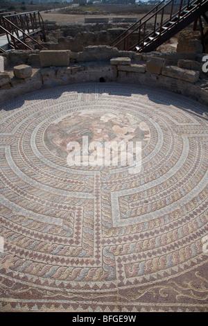Mosaik auf dem Boden des Hauses von Theseus Römervilla in Paphos archäologische Park Republik Zypern Europa - Stockfoto