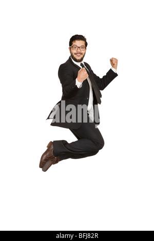 Geschäftsmann Freude springen. - Stockfoto