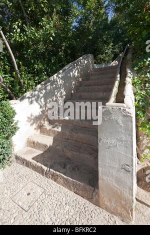 Wasserpalast Treppe, Generalife Gärten, Alhambra, Granada, Spanien - Stockfoto