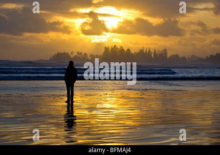 Sunset Long Beach Tofino BC Kanada - Stockfoto