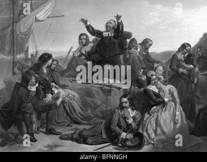 Gravur zu drucken, die emotionalen Szenen während der Abreise der Pilgerväter nach Amerika im Jahre 1620. - Stockfoto