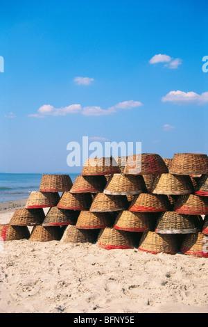 Fischer runden Körbe; Colva Strand; Goa; Indien; asien - Stockfoto