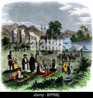 Pilger lagerten in der Nähe von Antiochien, 1800. Hand - farbige Holzschnitt - Stockfoto