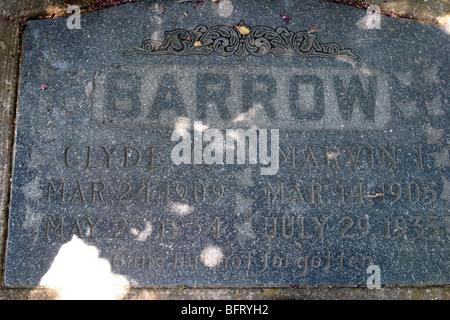 Das Grab von Clyde Barrow, Western Heights Friedhof in Dallas, Texas USA - Stockfoto