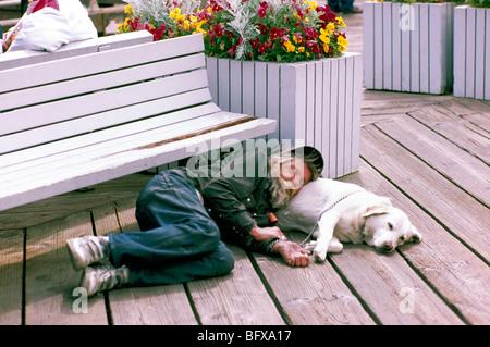 Greis, hinlegen und schlafen mit Hund unter einer Sitzbank draußen auf Holzsteg, beste Freunde - Stockfoto