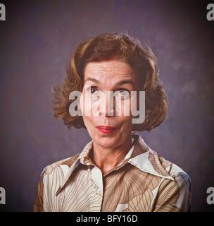 Frau, hob Augen Augenbrauen, fragenden Ausdruck. - Stockfoto
