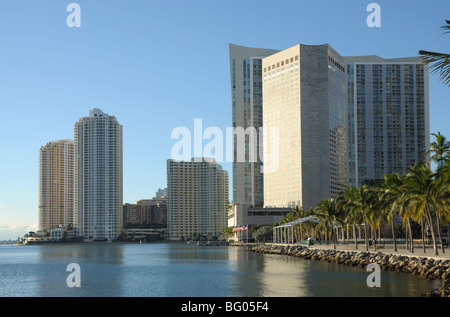 Bayside Blick auf Downtown Miami, Florida USA - Stockfoto