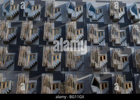 Neuen schottischen Parlamentsgebäude, Architekten Enric Miralles, Holyrood, Edinburgh, Schottland, Vereinigtes Königreich, - Stockfoto