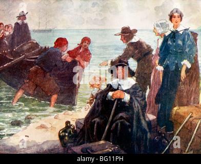 Außenillustration die ersten Pilger In Amerika das Schiff Mayflower kamen ist In der Ferne Abbildung von A.S Forrest - Stockfoto
