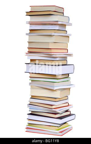 Bücher-Stapel auf weiß Stockfoto