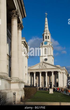 St. Martins Kirche, Trafalgar Square, London, England, Vereinigtes Königreich, Europa - Stockfoto