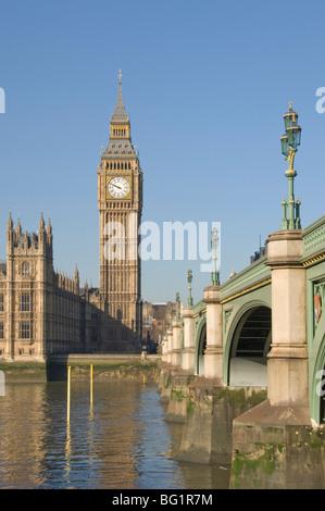 Westminster Bridge, Big Ben und die Houses of Parlament, London, England, Vereinigtes Königreich, Europa - Stockfoto