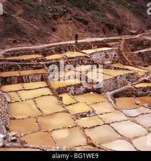Mann, Blick auf die Salinen, Salineras de Maras, Heiliges Tal, Cuzco Region, Urubamba-Tal, Peru, Südamerika - Stockfoto