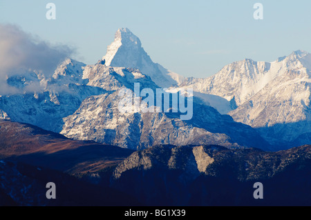 Matterhorn, gesehen von der Fiescheralp, Schweiz, Europa - Stockfoto
