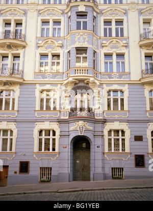 Welt zu reisen. Stadtteil Vinohrady in der Traditancient Stadt Prag in der Tschechischen Republik in Osteuropa. - Stockfoto