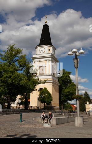 Finnland, Region Pirkanmaa, Tampere, Stadt, Zentralplatz, neoklassische alte Kirche Glockenturm, alte Uhr - Stockfoto