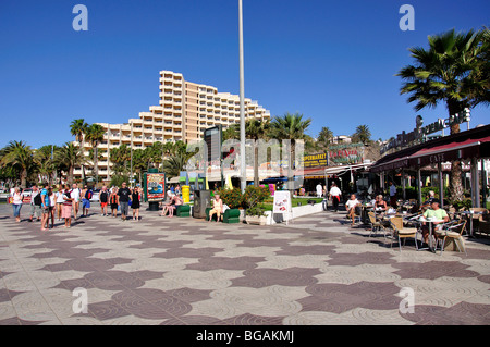 Strandpromenade, Playa del Ingles, San Bartolome de Tirajana Gemeinde, Gran Canaria, Kanarische Inseln, Spanien - Stockfoto