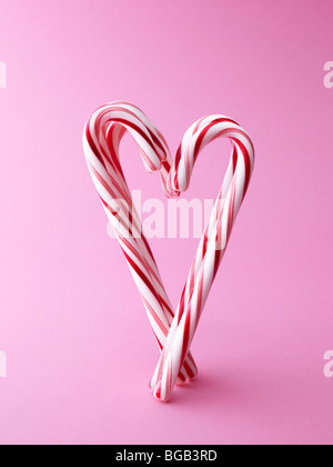 Zuckerstange in Herzform - Stockfoto
