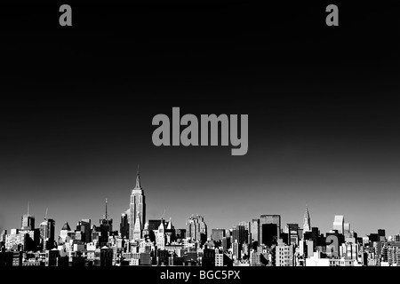 Skyline von New York City, in schwarz und weiß - Stockfoto