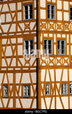 Fränkische Hälfte-Timbere am alten Rathaus, Mitte des 15. Jahrhunderts, Obere Bruecke Brücke 1, Bamberg, Franken, - Stockfoto