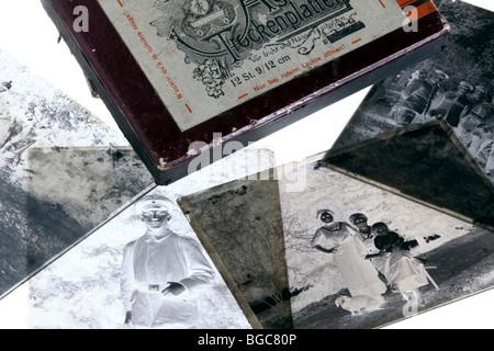 Alte Fotografien auf Silber-Bromid Gelatine trocken Platten - Stockfoto