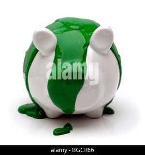 Grüne Sparschwein - Stockfoto