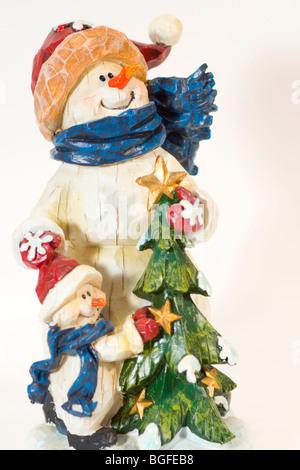 Nahaufnahme der Schneemann Weihnachts-Dekoration - Stockfoto