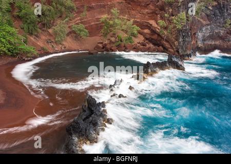 roter Sand Strand in Hana, Maui, hawaii - Stockfoto