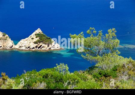 Rascas Felsen & Mittelmeerküste, Port-Cros Island National Park, Îles d'Hyères, Var, Côte d ' Azur oder Côte d ' - Stockfoto