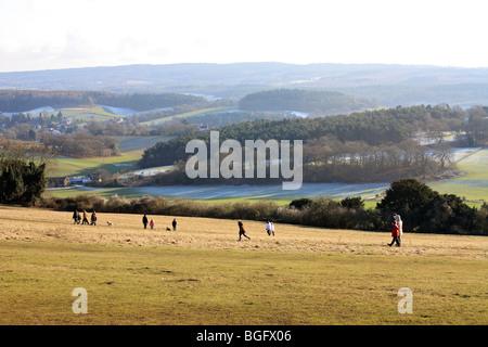 Die Aussicht von Albury unten in der Nähe Newlands Ecke direkt an der A25 zwischen Guildford und Dorking Surrey - Stockfoto