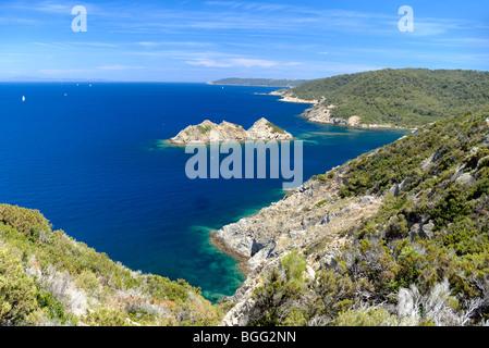 Port-Cros Island National Park, Mittelmeer & Rascas Felsen, Îles d'Hyères, Var, Côte d ' Azur oder Côte d ' Azur, - Stockfoto