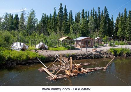 Alaska, Fairbanks. Schaufelrad Riverboat Entdeckungstour entlang der Chena River gibt Touristen einen Vorgeschmack - Stockfoto