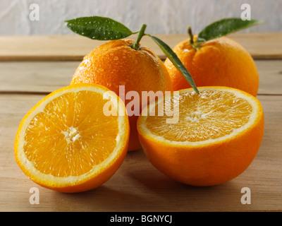 Ganze und geschnittene frische Orangen mit Blättern