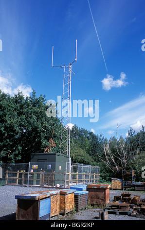 Tetra-Mast in der walisischen Stadt Llanidloes. - Stockfoto