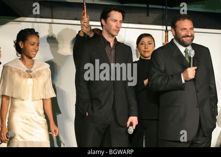 Kanadischer Schauspieler Keanu Reeves, Schauspielerin Jada Pinkett Smith, Produzent Joel Silver, Welt-Uraufführung - Stockfoto