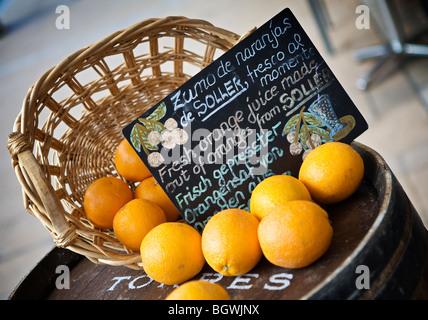 Korb mit lokalen Orangen außerhalb ein Straßencafé in Port de Soller, Mallorca - Stockfoto
