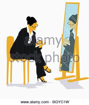Geschäftsfrau in Spiegel - Stockfoto