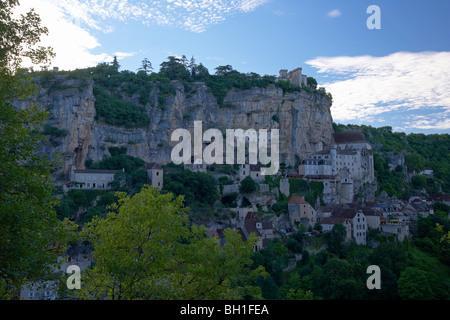 Ansicht von Rocamadour, The Way of St. James, Wege nach Santiago, Chemins de Saint-Jacques, Via Podiensis, Abt. - Stockfoto
